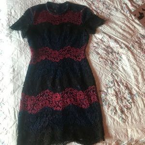 Express Floral Lace Short Sleeve Vintage Dress